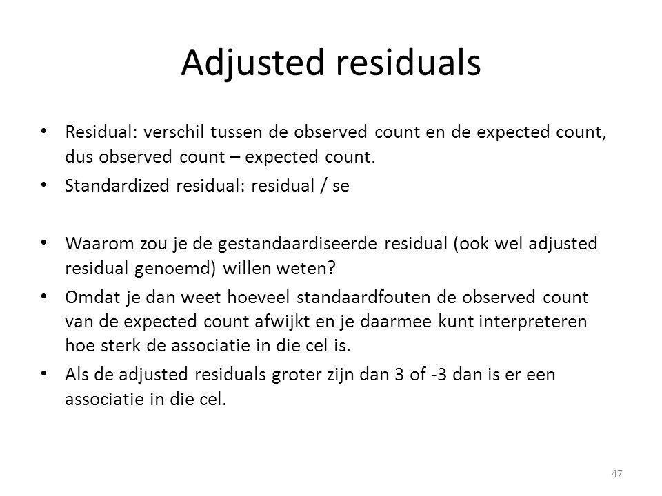 Adjusted residuals Residual: verschil tussen de observed count en de expected count, dus observed count – expected count. Standardized residual: resid
