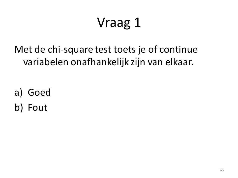 Vraag 1 Met de chi-square test toets je of continue variabelen onafhankelijk zijn van elkaar. a)Goed b)Fout 63