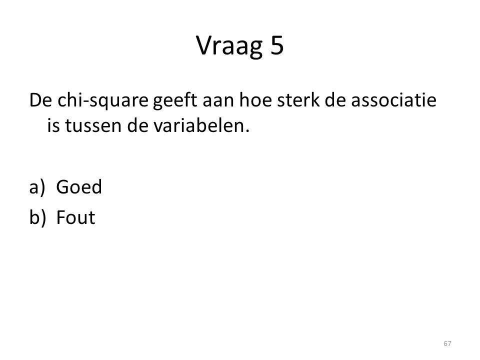 Vraag 5 De chi-square geeft aan hoe sterk de associatie is tussen de variabelen. a)Goed b)Fout 67