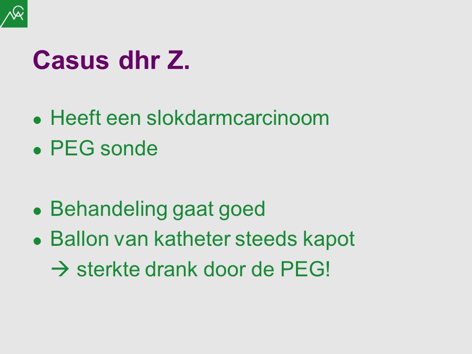 Casus dhr Z. Heeft een slokdarmcarcinoom PEG sonde Behandeling gaat goed Ballon van katheter steeds kapot  sterkte drank door de PEG!