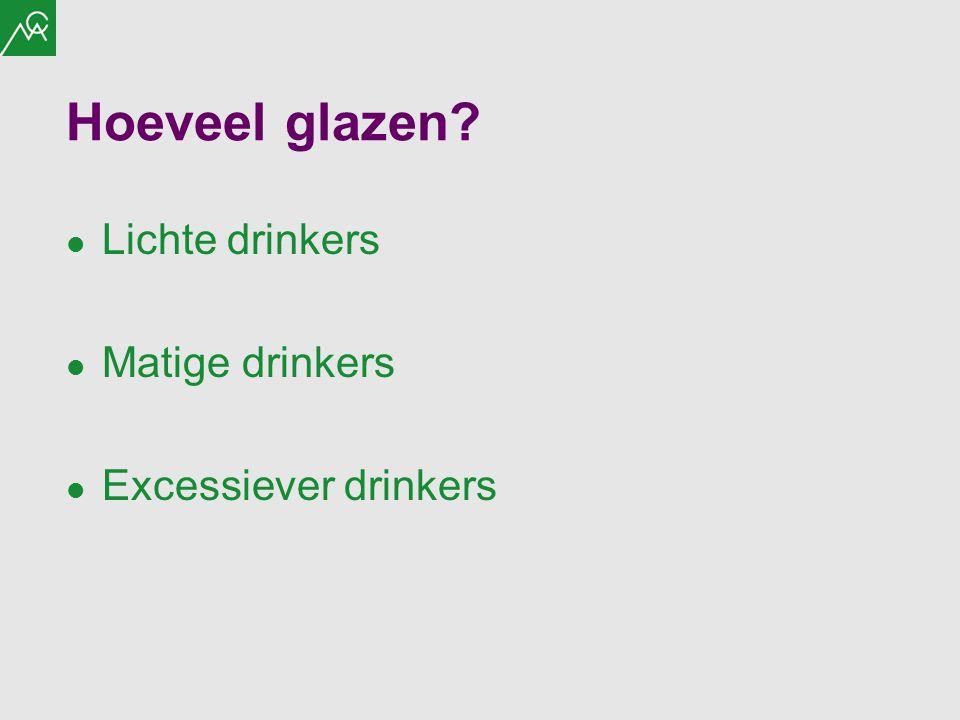 Hoeveel glazen? Lichte drinkers Matige drinkers Excessiever drinkers