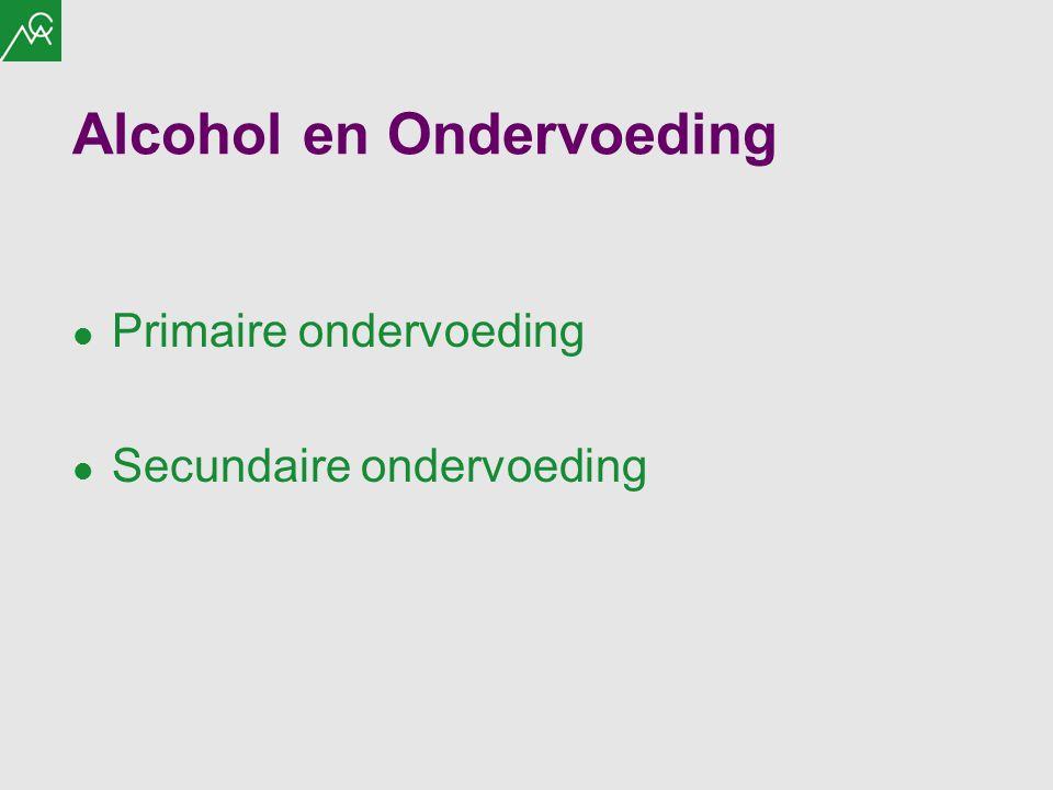 Alcohol en Ondervoeding Primaire ondervoeding Secundaire ondervoeding