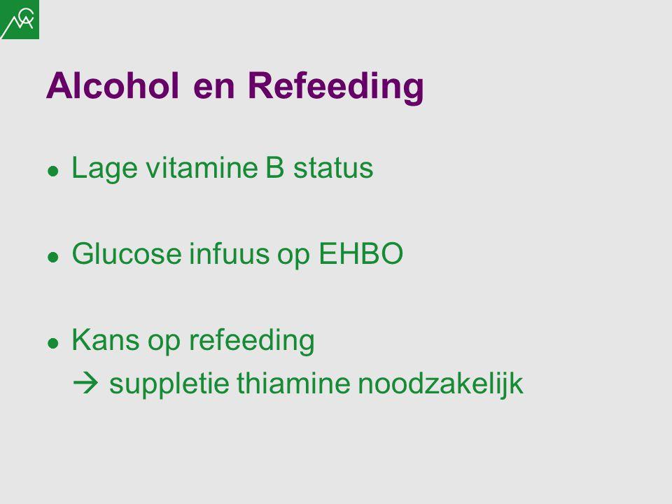 Alcohol en Refeeding Lage vitamine B status Glucose infuus op EHBO Kans op refeeding  suppletie thiamine noodzakelijk