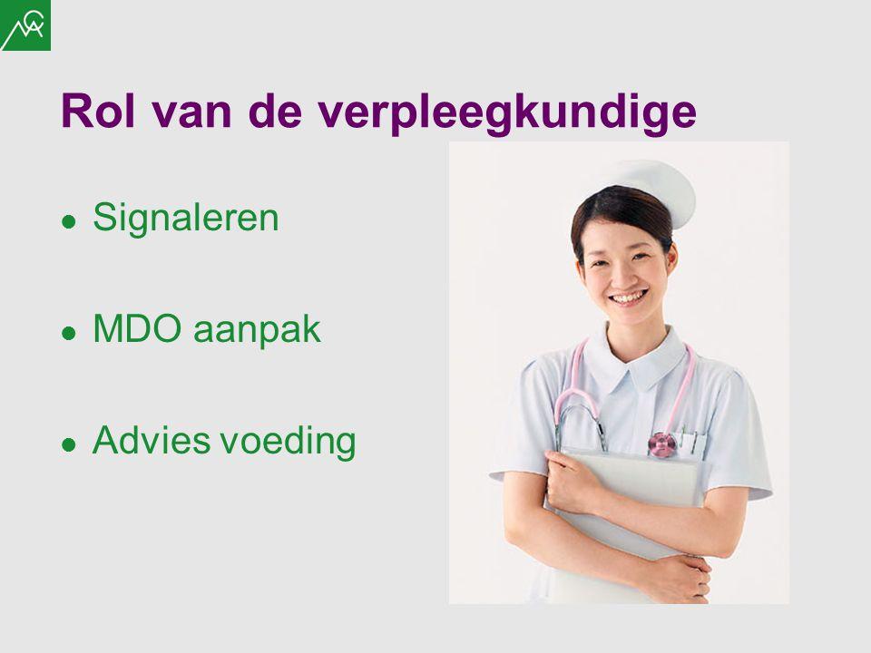 Rol van de verpleegkundige Signaleren MDO aanpak Advies voeding