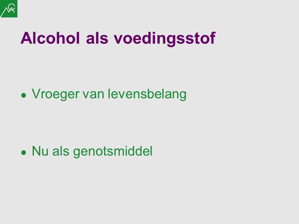 Alcohol als voedingsstof Vroeger van levensbelang Nu als genotsmiddel