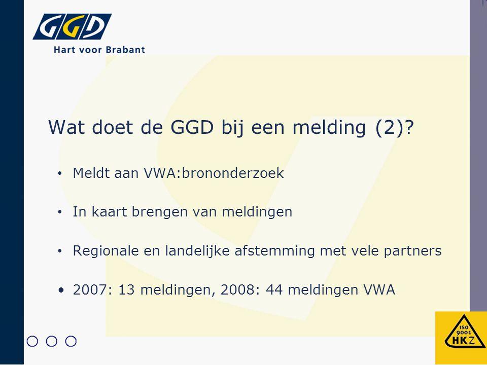 Wat doet de GGD bij een melding (2)? Meldt aan VWA:brononderzoek In kaart brengen van meldingen Regionale en landelijke afstemming met vele partners 2