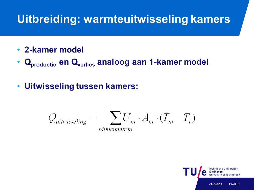 Uitbreiding: warmteuitwisseling kamers 2-kamer model Q productie en Q verlies analoog aan 1-kamer model Uitwisseling tussen kamers: PAGE 921-7-2014