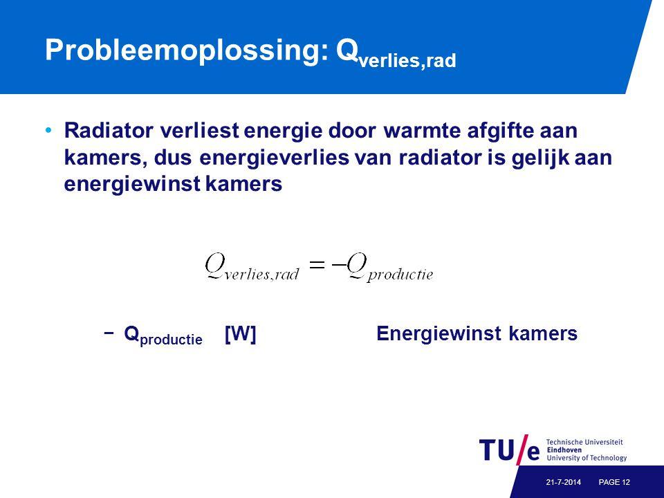 Probleemoplossing: Q verlies,rad Radiator verliest energie door warmte afgifte aan kamers, dus energieverlies van radiator is gelijk aan energiewinst kamers −Q productie [W] Energiewinst kamers PAGE 1221-7-2014