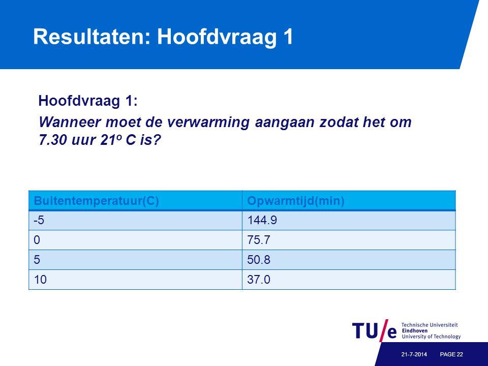 Resultaten: Hoofdvraag 1 PAGE 2221-7-2014 Buitentemperatuur(C)Opwarmtijd(min) -5144.9 075.7 550.8 1037.0 Hoofdvraag 1: Wanneer moet de verwarming aangaan zodat het om 7.30 uur 21 o C is