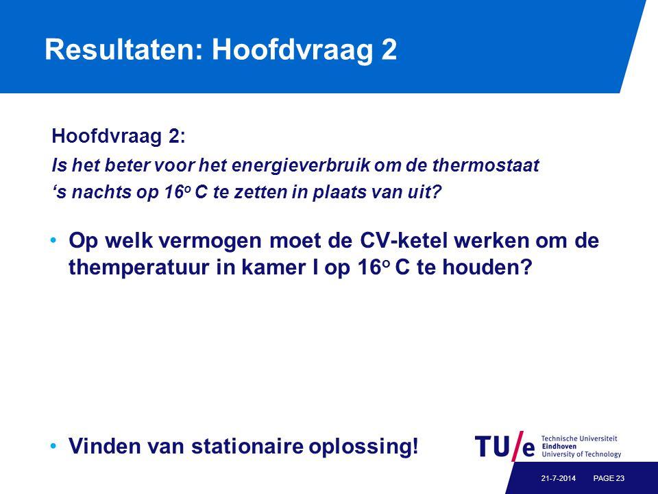 Resultaten: Hoofdvraag 2 PAGE 2321-7-2014 Hoofdvraag 2: Is het beter voor het energieverbruik om de thermostaat 's nachts op 16 o C te zetten in plaats van uit.