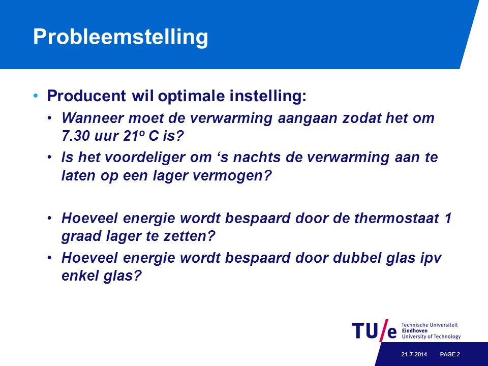 Probleemstelling Producent wil optimale instelling: Wanneer moet de verwarming aangaan zodat het om 7.30 uur 21 o C is.