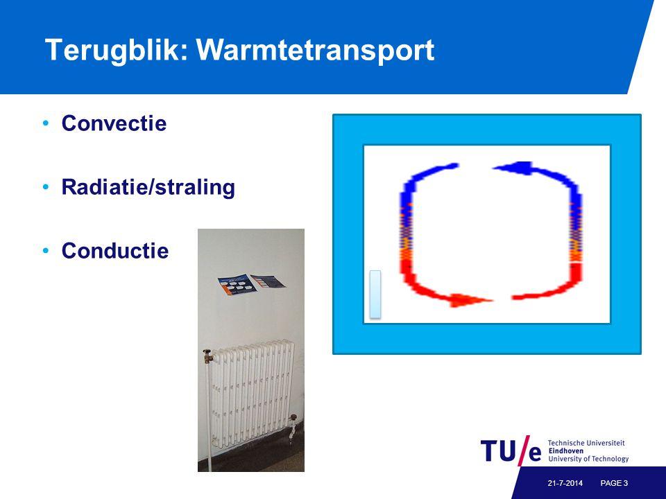 Terugblik: Warmtetransport Convectie Radiatie/straling Conductie PAGE 321-7-2014