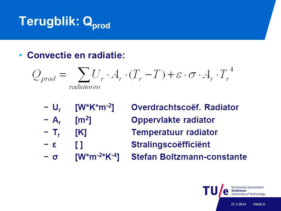 Terugblik: Q prod Convectie en radiatie: −U r [W*K*m -2 ] Overdrachtscoëf.