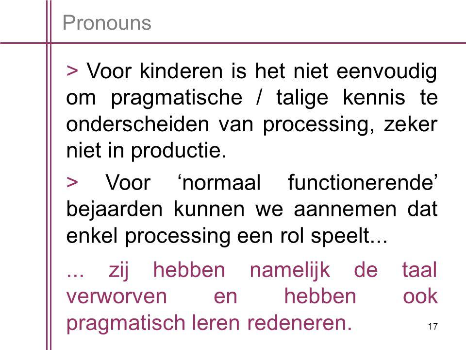 17 Pronouns > Voor kinderen is het niet eenvoudig om pragmatische / talige kennis te onderscheiden van processing, zeker niet in productie.