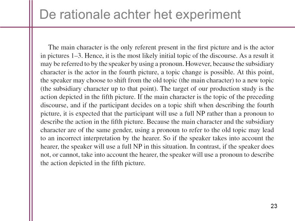23 De rationale achter het experiment