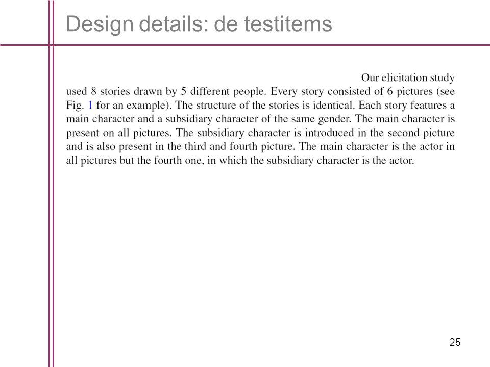 25 Design details: de testitems