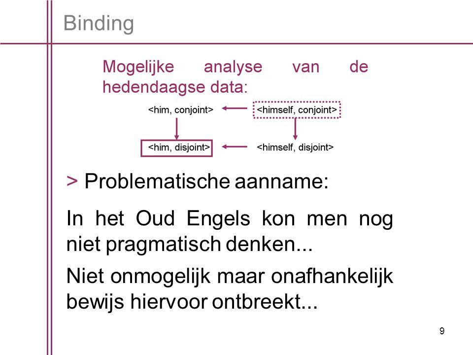 9 > Problematische aanname: In het Oud Engels kon men nog niet pragmatisch denken...