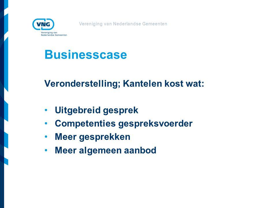 Vereniging van Nederlandse Gemeenten Businesscase Veronderstelling; Kantelen kost wat: Uitgebreid gesprek Competenties gespreksvoerder Meer gesprekken