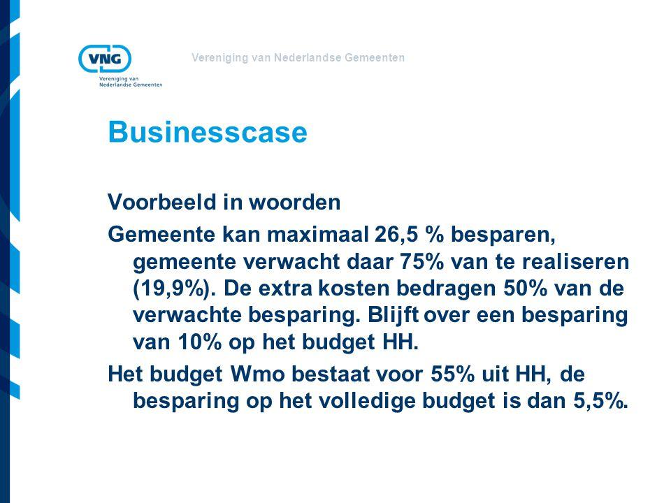 Vereniging van Nederlandse Gemeenten Businesscase Voorbeeld in woorden Gemeente kan maximaal 26,5 % besparen, gemeente verwacht daar 75% van te realis