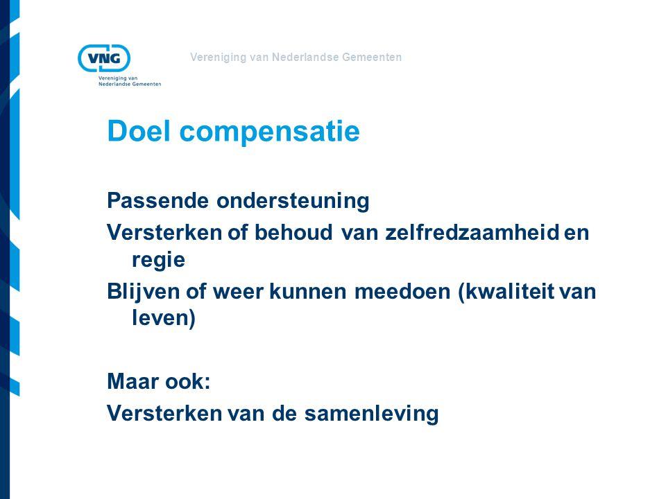 Vereniging van Nederlandse Gemeenten Doel compensatie Passende ondersteuning Versterken of behoud van zelfredzaamheid en regie Blijven of weer kunnen