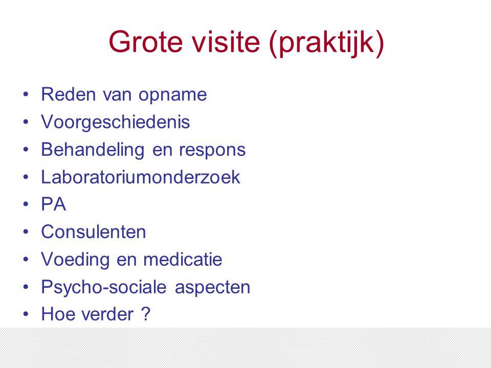 Grote visite (praktijk) Reden van opname Voorgeschiedenis Behandeling en respons Laboratoriumonderzoek PA Consulenten Voeding en medicatie Psycho-sociale aspecten Hoe verder ?