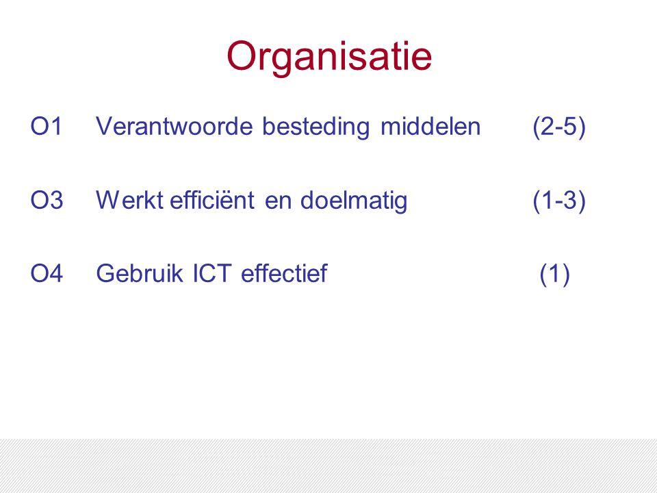 Organisatie O1Verantwoorde besteding middelen (2-5) O3 Werkt efficiënt en doelmatig (1-3) O4Gebruik ICT effectief (1)