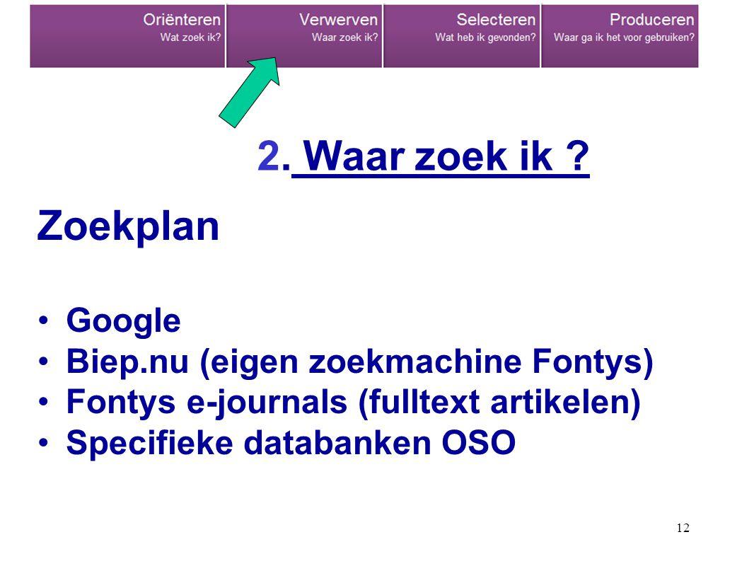 12 Zoekplan Google Biep.nu (eigen zoekmachine Fontys) Fontys e-journals (fulltext artikelen) Specifieke databanken OSO 2.