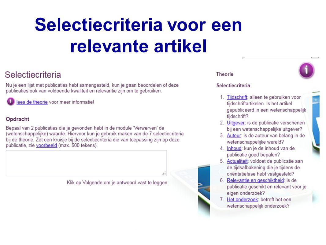 15 Selectiecriteria voor een relevante artikel 15