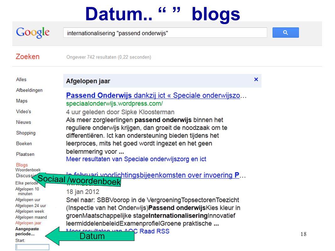 18 Datum.. blogs Sociaal /woordenboek Datum