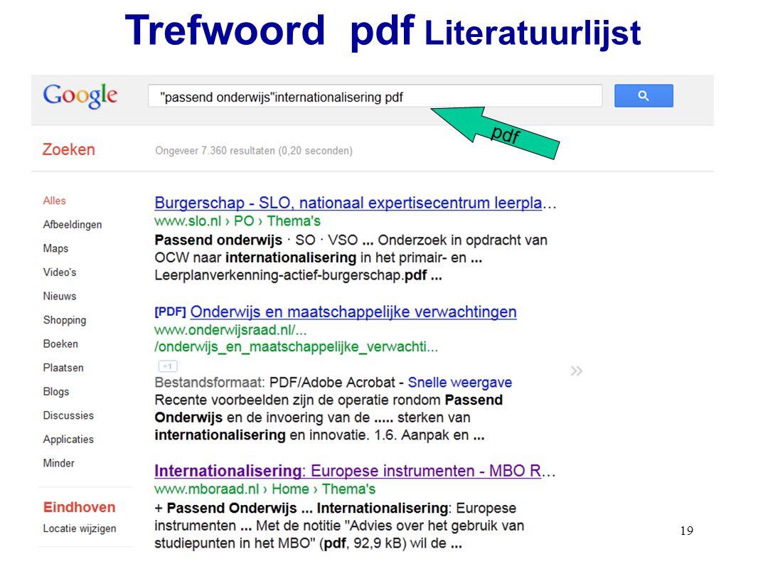 19 pdf Trefwoord pdf Literatuurlijst