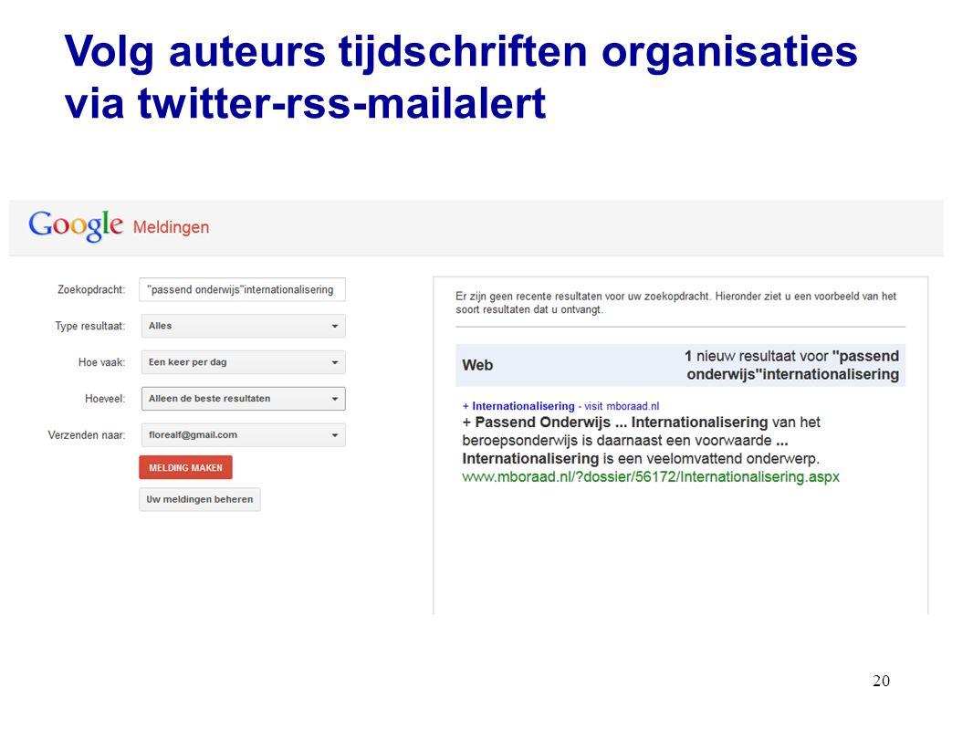 20 Volg auteurs tijdschriften organisaties via twitter-rss-mailalert