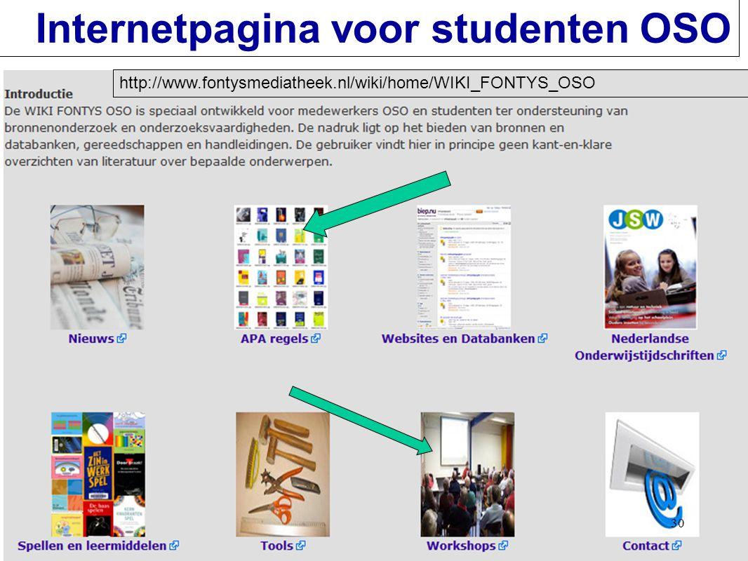 30 Internetpagina voor studenten OSO http://www.fontysmediatheek.nl/wiki/home/WIKI_FONTYS_OSO