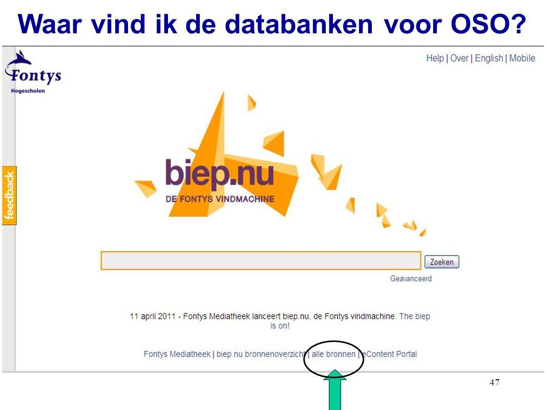 47 Waar vind ik de databanken voor OSO?