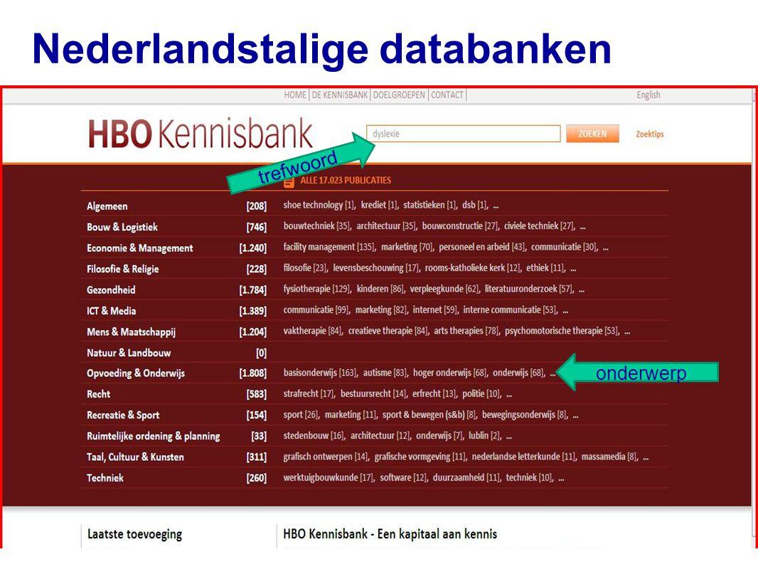 Nederlandstalige databanken 48 trefwoord onderwerp