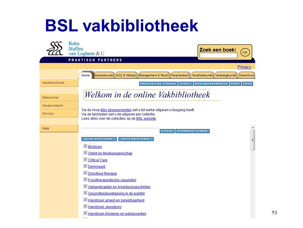50 BSL vakbibliotheek