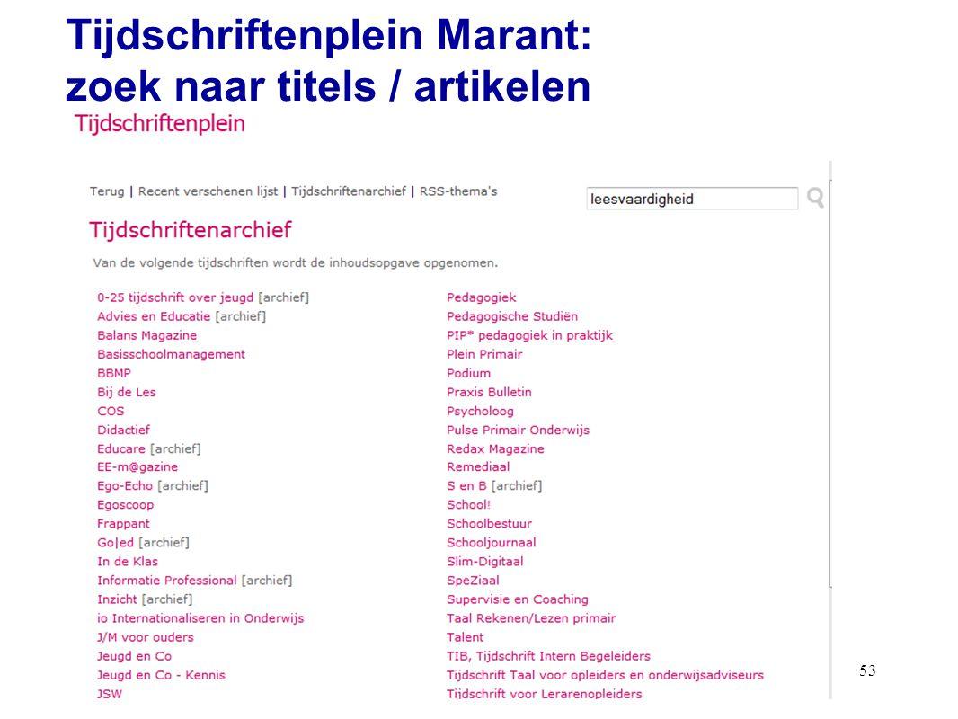 53 Tijdschriftenplein Marant: zoek naar titels / artikelen