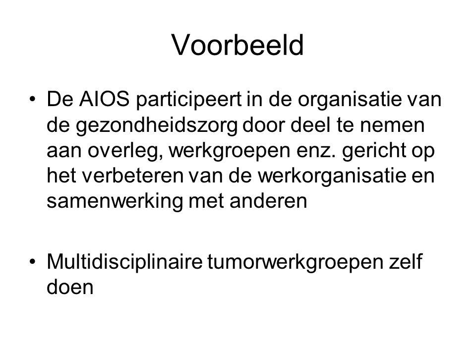 Voorbeeld De AIOS participeert in de organisatie van de gezondheidszorg door deel te nemen aan overleg, werkgroepen enz. gericht op het verbeteren van