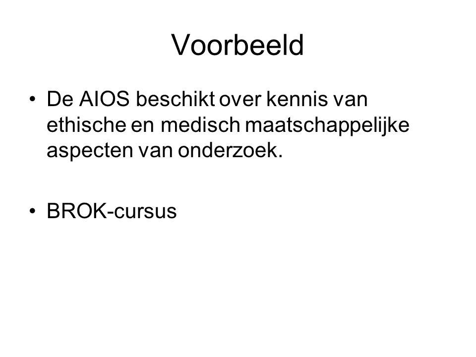 Voorbeeld De AIOS beschikt over kennis van ethische en medisch maatschappelijke aspecten van onderzoek. BROK-cursus