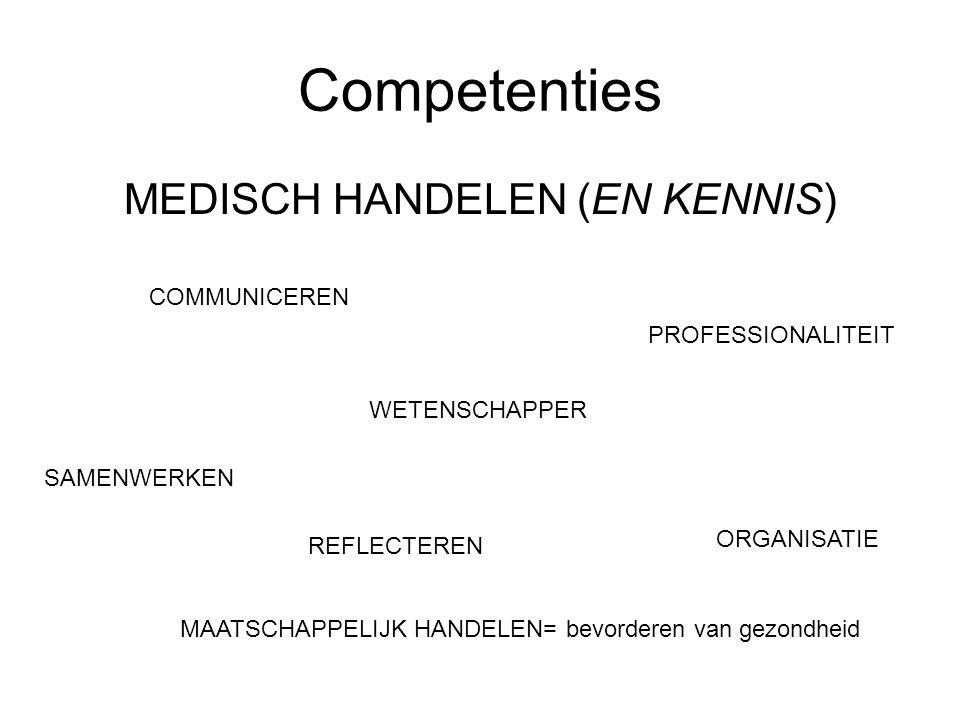 Competenties MEDISCH HANDELEN (EN KENNIS) WETENSCHAPPER MAATSCHAPPELIJK HANDELEN= bevorderen van gezondheid ORGANISATIE REFLECTEREN PROFESSIONALITEIT