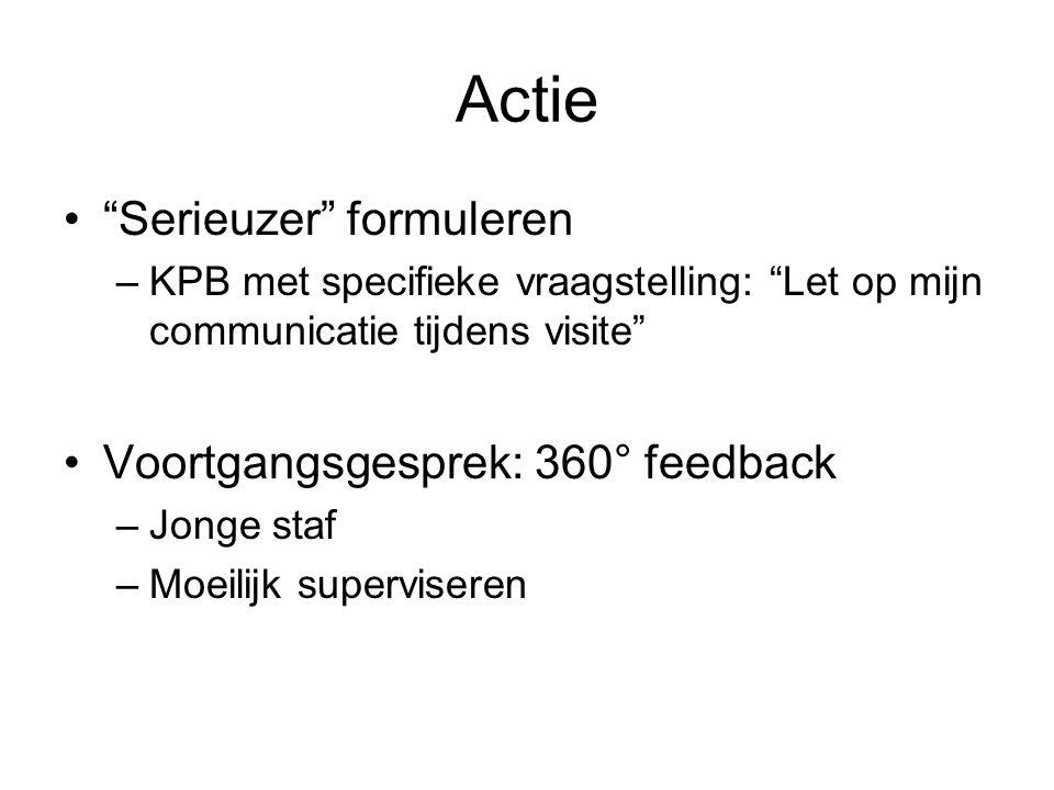 """Actie """"Serieuzer"""" formuleren –KPB met specifieke vraagstelling: """"Let op mijn communicatie tijdens visite"""" Voortgangsgesprek: 360° feedback –Jonge staf"""
