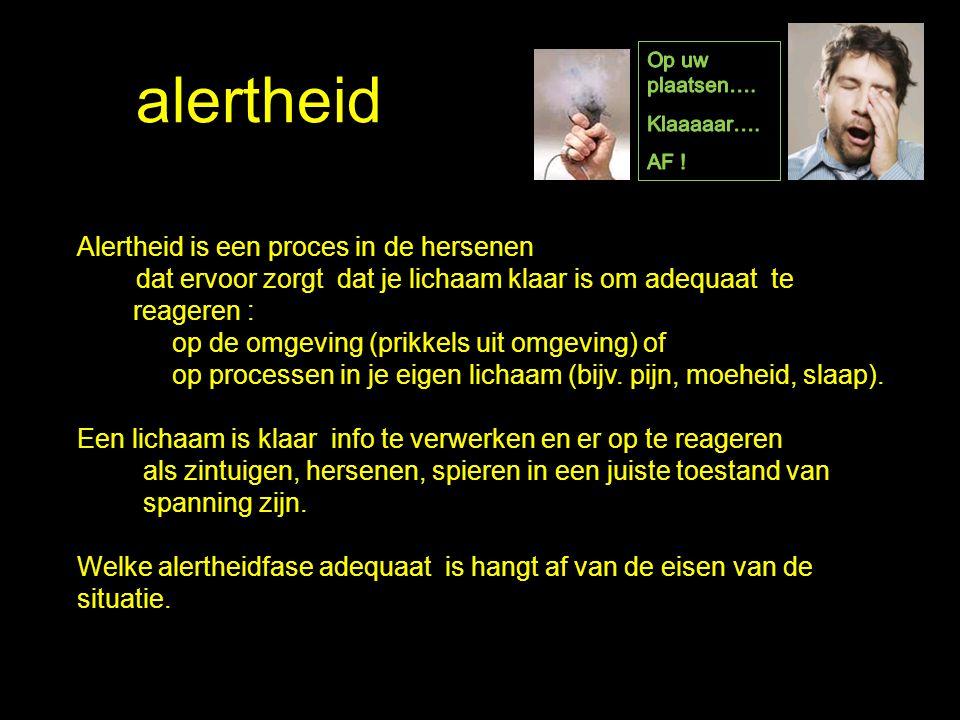 alertheid Alertheid is een proces in de hersenen dat ervoor zorgt dat je lichaam klaar is om adequaat te reageren : op de omgeving (prikkels uit omgev