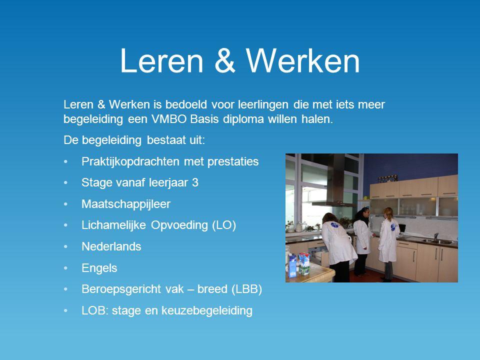 Leren & Werken Leren & Werken is bedoeld voor leerlingen die met iets meer begeleiding een VMBO Basis diploma willen halen. De begeleiding bestaat uit