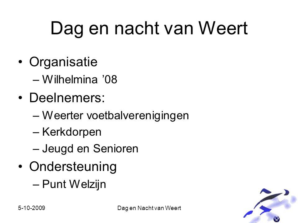 5-10-2009Dag en Nacht van Weert Dag en nacht van Weert Organisatie –Wilhelmina '08 Deelnemers: –Weerter voetbalverenigingen –Kerkdorpen –Jeugd en Senioren Ondersteuning –Punt Welzijn