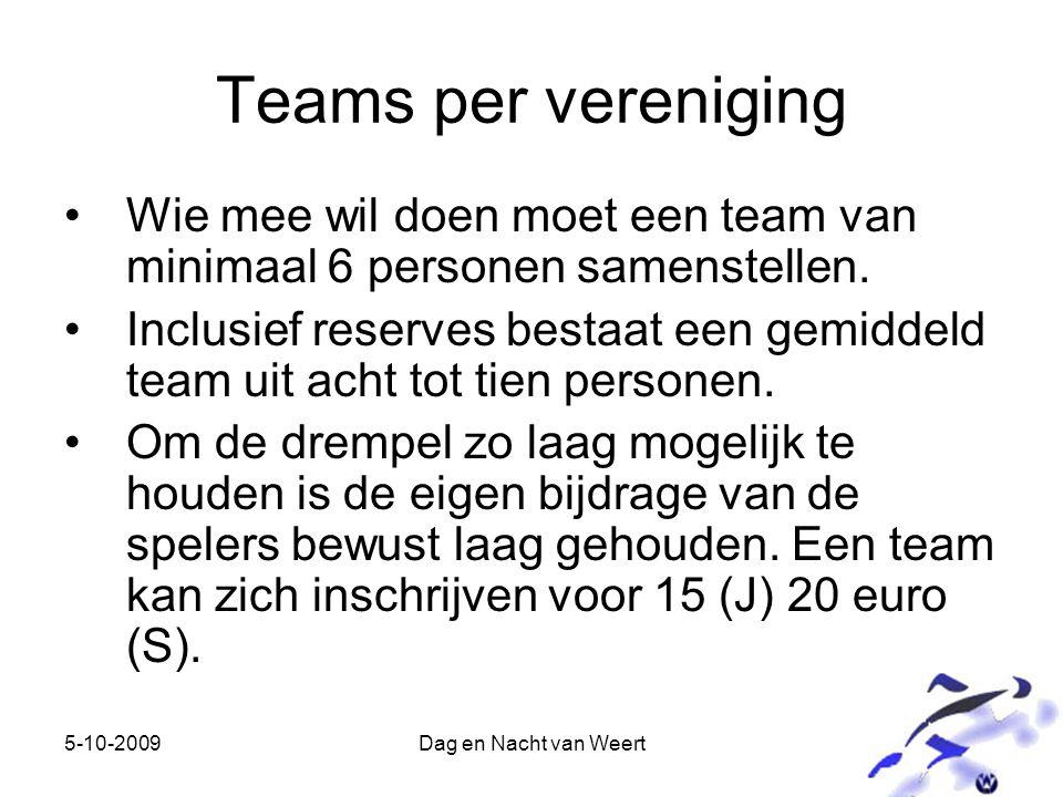 5-10-2009Dag en Nacht van Weert Teams per vereniging Wie mee wil doen moet een team van minimaal 6 personen samenstellen.