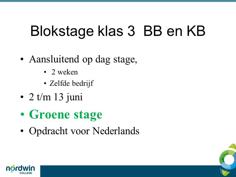 Blokstage klas 3 BB en KB Aansluitend op dag stage, 2 weken Zelfde bedrijf 2 t/m 13 juni Groene stage Opdracht voor Nederlands