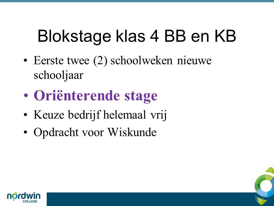 Blokstage klas 4 BB en KB Eerste twee (2) schoolweken nieuwe schooljaar Oriënterende stage Keuze bedrijf helemaal vrij Opdracht voor Wiskunde