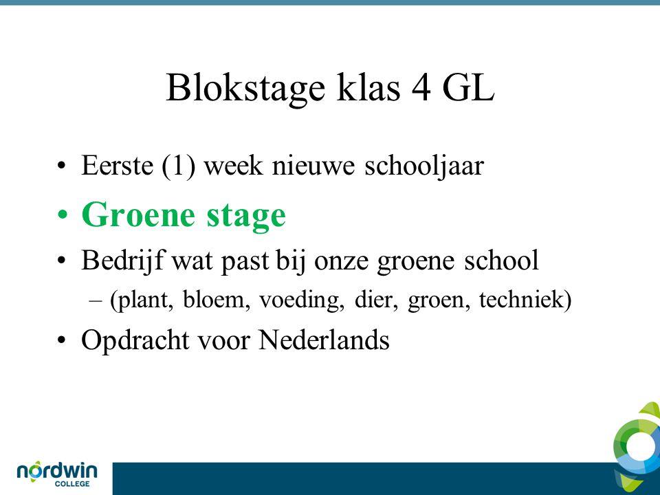 Blokstage klas 4 GL Eerste (1) week nieuwe schooljaar Groene stage Bedrijf wat past bij onze groene school –(plant, bloem, voeding, dier, groen, techniek) Opdracht voor Nederlands