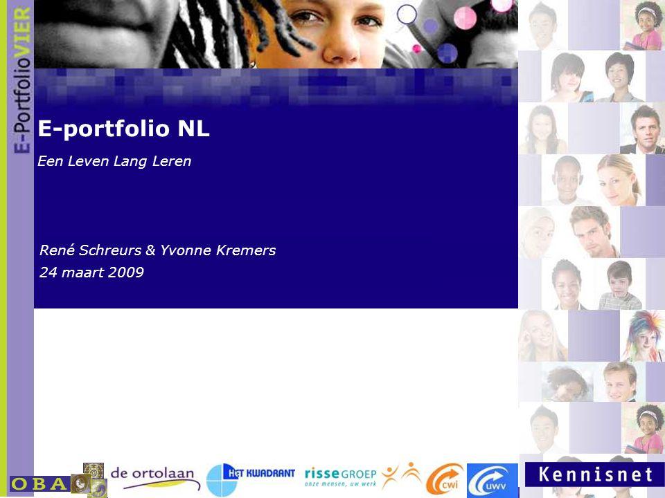 www.kennisnet.nl Naam van de Auteur 7 januari 2008 E-portfolio NL Een Leven Lang Leren René Schreurs & Yvonne Kremers 24 maart 2009