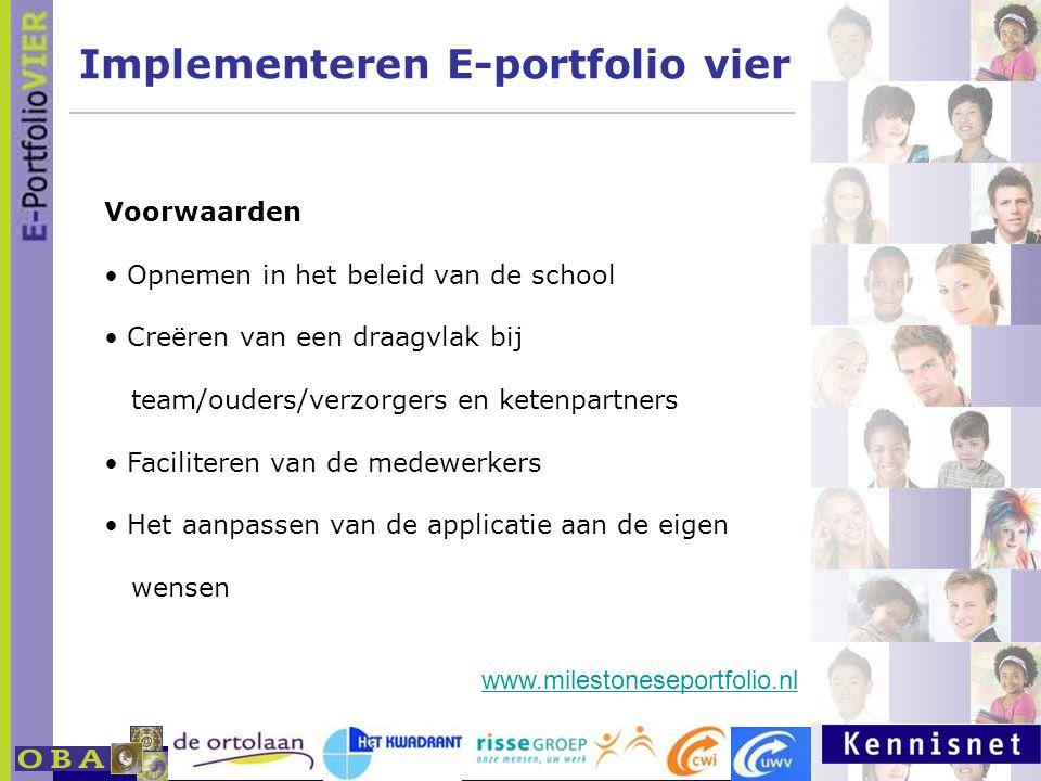 E-portfolio: Een leven lang leren 23 januari 2007 Implementeren E-portfolio vier Voorwaarden Opnemen in het beleid van de school Creëren van een draagvlak bij team/ouders/verzorgers en ketenpartners Faciliteren van de medewerkers Het aanpassen van de applicatie aan de eigen wensen www.milestoneseportfolio.nl