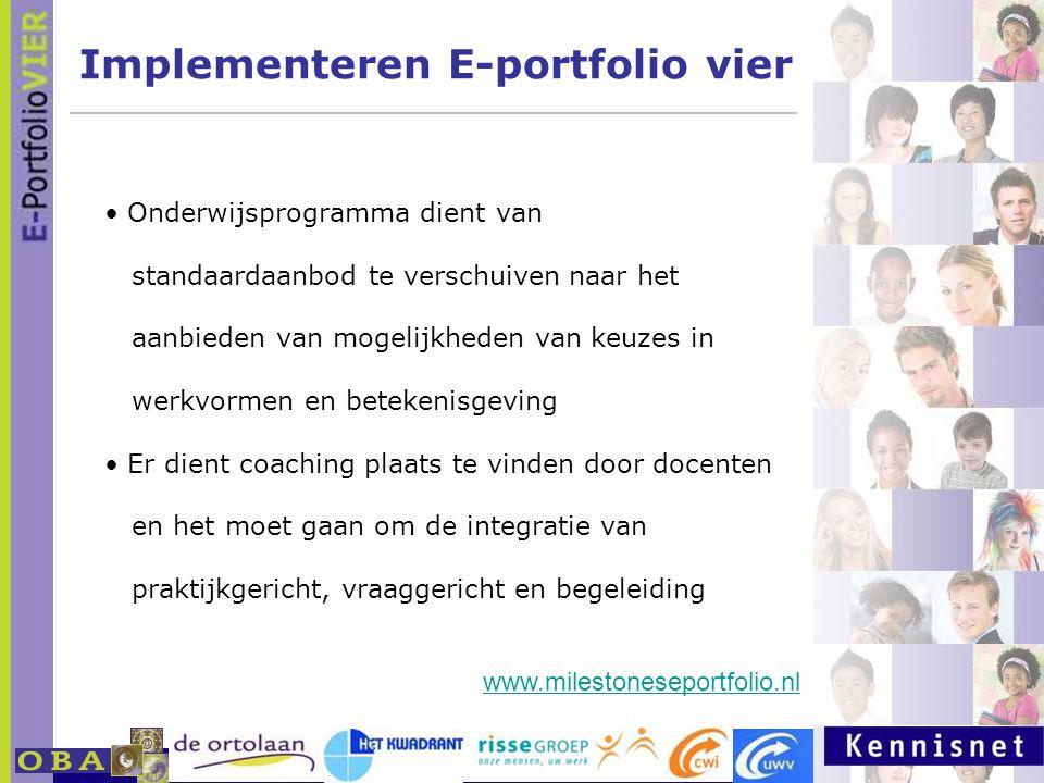 E-portfolio: Een leven lang leren 23 januari 2007 Implementeren E-portfolio vier Onderwijsprogramma dient van standaardaanbod te verschuiven naar het